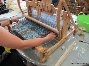 Weaving away on Team Sheep Shape's shawl.