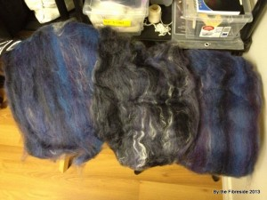 This is how it started: 3 50-gram batts, two in blue-ish, one in black-ish.
