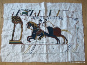 Progress on the Bayeux Tapestry as at Feb. 23, 2014.