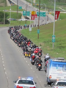 The tail end of a parade of almost 600 motorcycles.